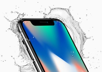 apple iphone x front crop top corner splash