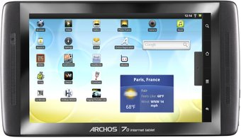 ARCHOS 70 INTERNET TABLET FRONT HOME SCREEN