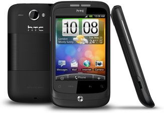 HTC WILDFIRE BLACK BACK FRONT SIDE