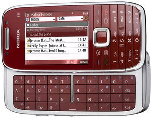 NOKIA E75 FRONT ANGLED OPEN RED