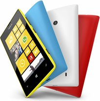 nokia lumia 520 yellow front cyan white red back