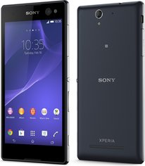 SONY XPERIA C3 BLACK BACK FRONT
