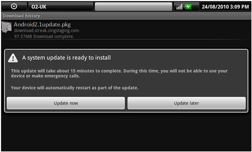 Dell Streak (Mini 5) Android 2.1 OS OTA Update