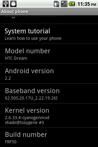 T-Mobile G1 (HTC Dream) Android 2.2 OS Update FRF50 32b Alpha
