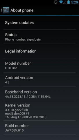 HTC One 801n Google Play Edition Android 4.3 OTA System Update JWR66W