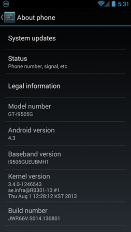 Samsung GT-i9505G Galaxy S4 Google Play Edition Android 4.3 OTA System Update JWR66W