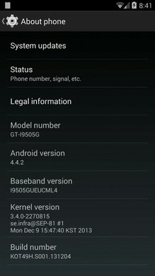 Samsung GT-i9505G Galaxy S4 Google Play Android 4.4.2 KitKat System Update KOT49H