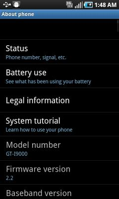 Samsung GT-i9000M Galaxy S Vibrant Android 2.2 OS Update